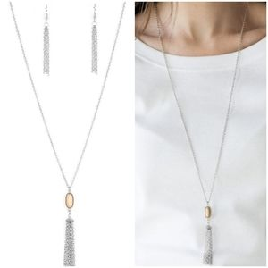 TASSEL TEASE BROWN NECKLACE/EARRING SET